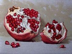 Pomegranate by Clinton Hobart Pomegranate Pictures, Pomegranate Art, Pomegranate Drawing, Watercolor Fruit, Fruit Painting, Watercolor Paintings, Dark Art Drawings, Still Life Fruit, Painting Still Life