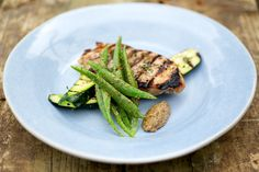 British Larder - griddled pork steaks with homemade mustard and string beans with zucchini