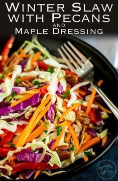 This winter slaw is packed with crisp crunchy veg. The sweet maple dressing and creamy pecans make it extra special and a delicious and fresh side for the festive season. Recipe by Sprinkles and Sprouts | Delicious Food for Easy Entertaining