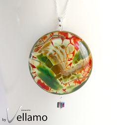 Green Red Dragon Raziel large stone pendant by byVellamo, $23.00