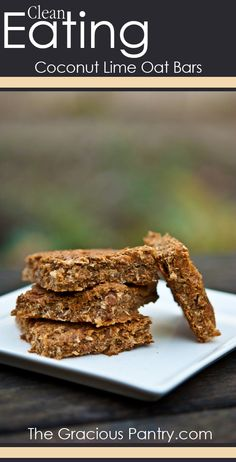 Clean Eating Coconut Lime Oat Bars. #cleaneating #cleaneatingrecipes #eatclean #healthyrecipes #recipes #snackrecipes #snacks