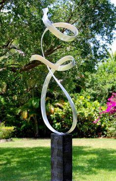 Abstract Metal Art - Handmade Wavy Yard Sculpture - Silver Reflective Outdoor Garden Art - Allure by Jon Allen Outdoor Sculpture, Modern Sculpture, Abstract Sculpture, Sculpture Art, Garden Sculpture, Abstract Art, Indoor Outdoor, Outdoor Art, Outdoor Ideas