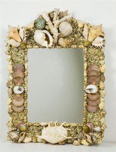 Beautiful Large Seashell Decorated Mirror -Designer Signed -WOW!