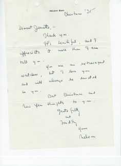 Nelson Eddy's original letter to Jeanette MacDonald declaring his love and devotion written on Christmas of 1935.