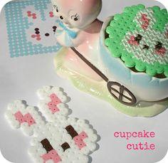 Cross stitch hama bead bunny pattern onto hama bead pendant. by cupcakecutie1