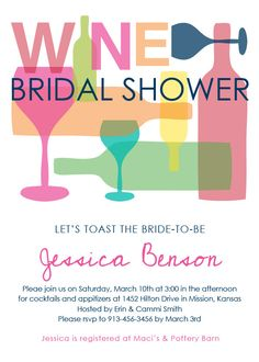 Wine Themed Bridal Shower Invitation - Bridal Shower Invitations - Party Invitations - Party   Paper Snaps