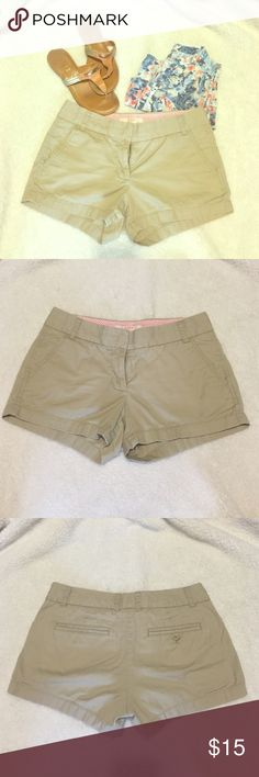 PRICE DROP-FIRM J Crew Shorts size - 2 Khaki colored, lightweight, broken-in chino shorts by J Crew. 100% cotton. Size 2. A neutral short to be worn with just about anything! Hello spring/summer!!  J. Crew Shorts
