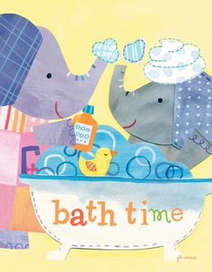 """Taking A Bath"" artwork for kids rooms by Jill McDonald for Oopsy daisy, Fine Art for Kids $89"