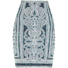 Herve Leger Tempes Bohemian Floral Jacquard Skirt (1.145 BRL) ❤ liked on Polyvore featuring skirts, bottoms, saias, faldas, blue skirt, floral print skirt, floral skirt, patterned pencil skirt et elastic waist skirt