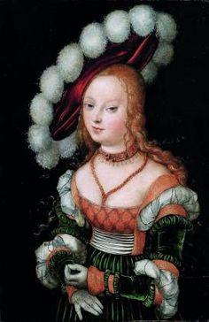 Lucas Cranach(1472-1553) , Portrait de jeune femme au chapeau rouge, huile sur panneau, 40 x 27 cm,