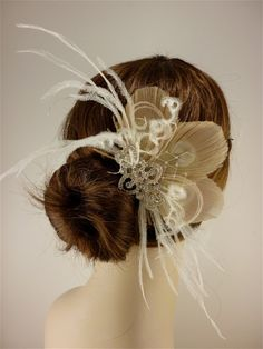 Wedding Hair Accessory Feather Fascinator Bridal by IceGreenEyes, $68.00