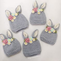 Shop designer kids fashion and accessories for girls and boys including Mini Rodini, Little Unicorn, Dockatot and Spearmint LOVE. Shipping in the US is always free.This is the sweetest little bunny hat with a crown of knitted flowers between the ears. Knitted Hats Kids, Knitting For Kids, Kids Hats, Knitting Projects, Crochet Projects, Free Knitting, Bonnet Crochet, Crochet Beanie, Crochet Hats