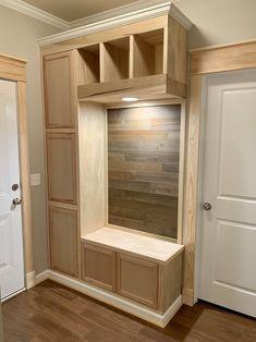 Prefab Cabinets, Motif Mandala Crochet, Drop Zone, Trim Work, Built In Storage, Mudroom Storage Bench, Little Houses, Thing 1, Built Ins