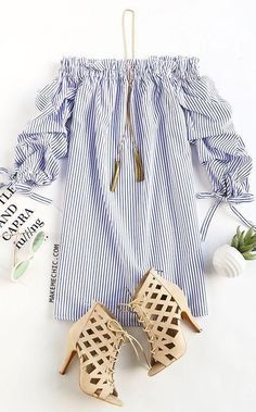 Ladies Long Sleeve Casual Stripes Mini Dress