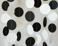 Black and white paper garland birthday anniversary party graduation decorations retirement party bridal shower wedding Black And White Party Decorations, Black White Parties, Black And White Theme, White Decor, Masquerade Party Decorations, Retirement Party Decorations, Graduation Decorations, Retirement Parties, Parties Decorations