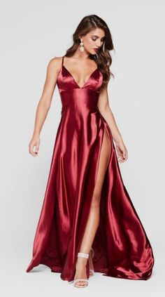 In stock - Tiffany Satin Gown - Burgundy Red Satin Dress, Satin Gown, Satin Dresses, Silk Dress, Sexy Dresses, Fashion Dresses, Prom Dresses, Burgundy Gown, The Dress