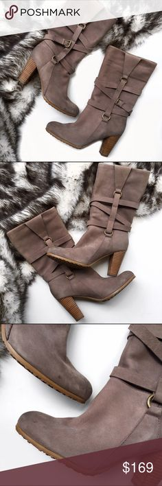 Anthropologie suede boots Super chic suede boots by plenty by racy Reese at Anthropologie. No trades. Open to offers Anthropologie Shoes Heeled Boots