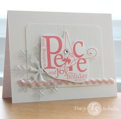 A pink and white holiday card can be fun! Lots of textures and elements here. Info @ whoistracy.com