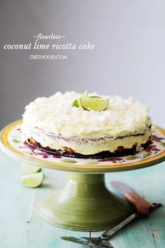 Coconut Lime Ricotta Cake {Flourless} - Bright, light and incredibly delicious Coconut Lime Cake made with ricotta cheese and almond meal.