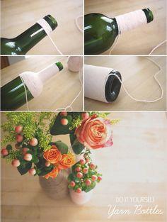 Floreros con botellas recicladas