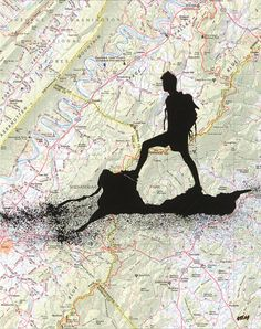 Topographic Map with Hiker Alone  Original Painting by glassatlas, $39.00