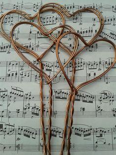 Vintage copper heart wedding table number/menu holder spikes, stick in