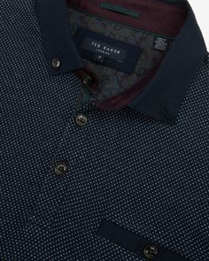 Birdseye front polo shirt - Navy | Tops & T-shirts | Ted Baker ROW