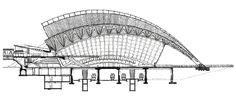 Santiago CALATRAVA // Coupe de la gare (Doc. Calatrava) Futuristic Architecture, Architecture Plan, Contemporary Architecture, Landscape Architecture, Santiago Calatrava, Image Train, Space Frame, Bridge Design, Architecture Visualization