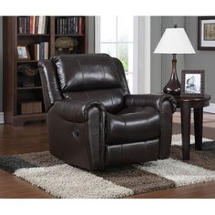 Chocolate Leather Rocker Recliner Pulaski Furniture Recliners Chairs & Recliners Living Ro
