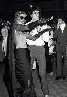 Ron Galella Disco NYC: Grace Jones and guest at the Disco Convention Banquet
