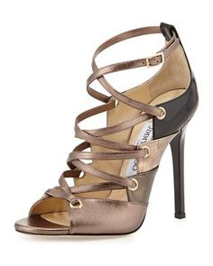Linger Leather Lace-Up Sandal, Gold Mix by Jimmy Choo at Neiman Marcus.