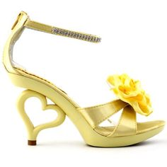 Show Story Light Yellow Removable Flower Ankle Strap Brid…