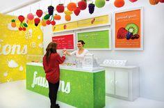 FRUSIONS   Custom Fruit Salad Store by Arielle Knapp, via Behance Kiosk Design, Retail Design, Salad Shop, Salad Bar, Juice Bar Design, Produce Displays, Chocolate Milkshake, Food Stands, Orange Recipes