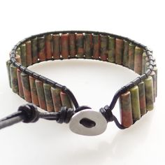 (Min.order 10$ mix) A Strand 13x5mm Unakite Gem Column Beads Wrap Leather Adjustable Bracelet  7.5 inch SHX1307