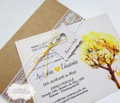 Convite Ipê Amarelo, convite de casamento rústico, convite descontraído, convite rúsitco