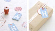 Etiquetas y varias formas de envolver regalos