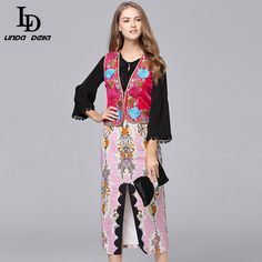 Autumn Winter Women Dress Patchwork Print Embroidered Vests ethnic Vintage Dress