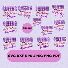 Queens are born Svg Designs Bundle for Cricut , Queens T-shirt transfer Svg, Queens Birthday Month Instant Download Queen Birthday, Birthday Month, Silhouette Designer Edition, Svg Files For Cricut, Cutting Files, Design Bundles, Physics, Queens, T Shirt
