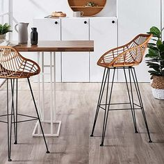 Intensify organic good looks in your space with the Juhana Rattan Bar Stool, Brown (Set of from Resort Living. Wicker Bar Stools, Brown Bar Stools, Rattan Stool, Outdoor Bar Stools, Bar Stool Chairs, Counter Height Bar Stools, Ikea Chairs, High Chairs, Dining Chairs