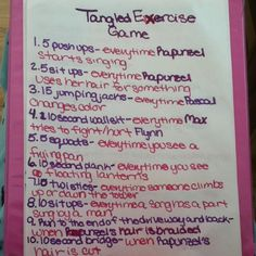 Tangled Exercise Game - good for trying to grab a workout when you have a kid. They get a movie and you get a workout.