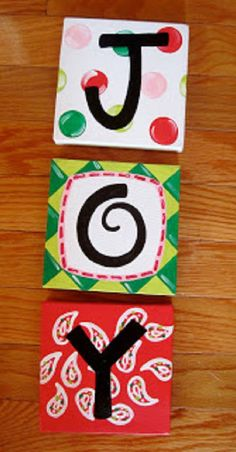 Joy Custom Christmas Canvas Sign Set on Etsy, $35.00