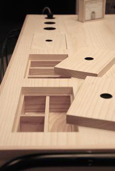 These cubbies are in a desk but they'd be really useful in a roleplaying gaming table. - Eddi-Tornberg-3