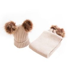 Mother & Kids Accessories 2pcs Family Matching Winter Warm Hats Mother Kids Baby Child Knit Beanie Winter Fur Pom Hat Crochet Ski Fitted Solid Cap Pudcoco Comfortable And Easy To Wear