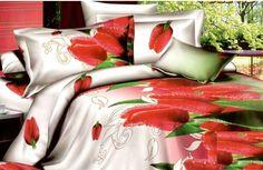 Ložní povlečení s červenými tulipány Comforters, Blanket, Bed, Home, Creature Comforts, Blankets, Stream Bed, Ad Home, Homes