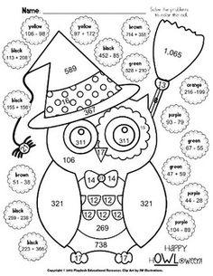Halloween Owl Math Worksheet (Grades 2-5)