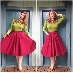 Ugly colors but gorgeous fit - PinUp Girls Pin Up Outfits, Basic Outfits, Fashion Outfits, Fashion Trends, Outfits 2016, Women's Fashion, Quirky Fashion, Retro Fashion, Vintage Fashion