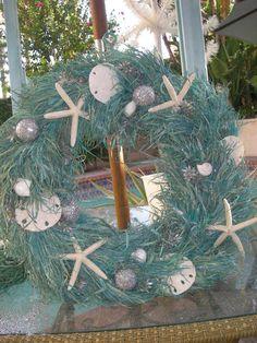 Beach Chic Seashell Turquoise Christmas Wreath.