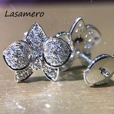 LASAMERO 0.57CTW Natural Diamond Round Cut Cluster Earrings 18K White Gold  Halo Stud Earrings Fine Jewelry Earring Studs