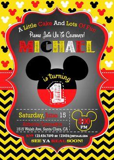 Mickey Mouse invitación invitación de cumpleaños 1 por mymyparty