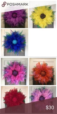 Homemade spring flower wreath Homemade wreath ! You can pick your own color :) homemade Other